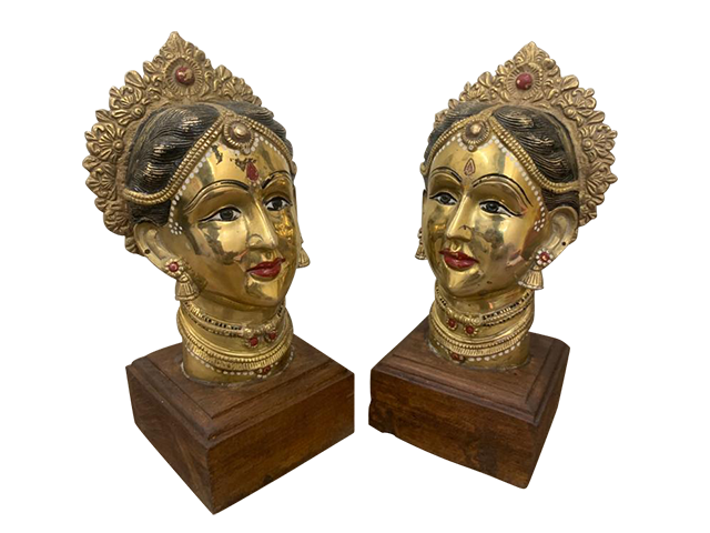 Brass Woman Face Bust
