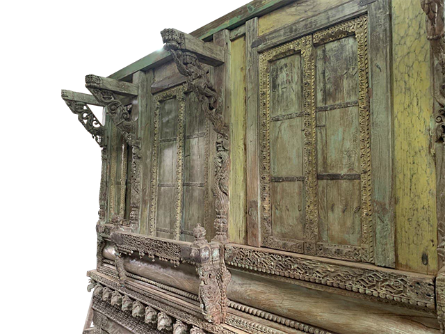 Green Solid  Jharokha Doors
