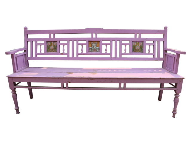 Purple Wooden Bench