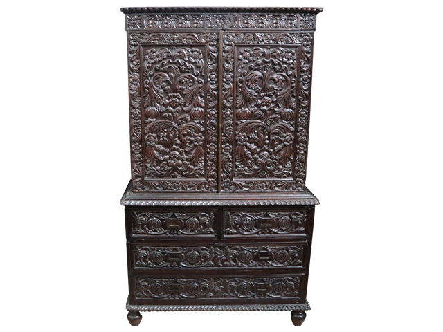 Rosewood Colonial Carved Wardrobe